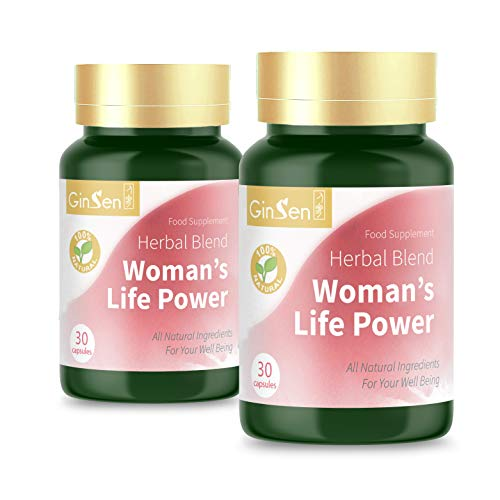 GinSen Woman's Life Power Helps Egg Quality & Quantity, FHS, AMH, Irregular Periods & Ovulation, Conceive Naturally, PCOS, Natural Fertility Supplement, Chinese Medicine, Made in UK (60 Caps (30x2))