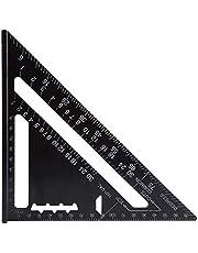 MINGZE 7 Inch Aluminium Driehoek Liniaal Vierkant Gradenboog, Professionele Metrisch Vierkante Protractor Hoge Precisie Meetinstrument Meetgereedschap Tool Zwart Voor Ingenieur Engineer Timmerman