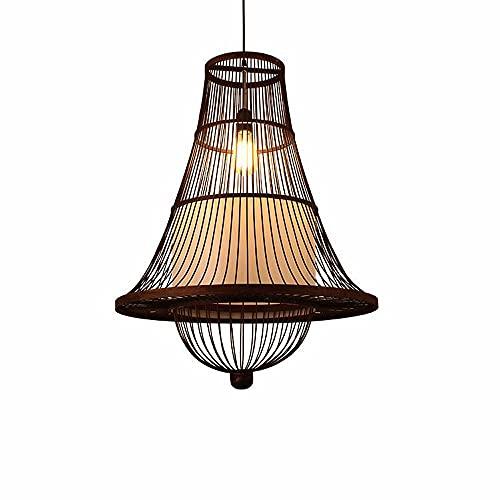 ZHANGL Candelabro de bambú Moderno y Simple Candelabro de Mimbre Tejido a Mano E27 Creative Homestay Inn Tatami Techo Candelabro de bambú Altura Ajustable