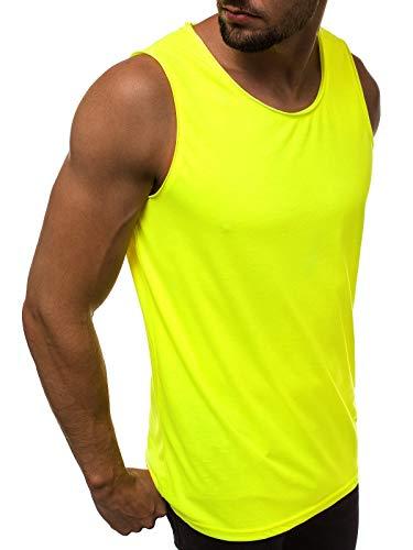MOODOZ Herren Tank Top Tanktop Tankshirt Ärmellos Bodybuilding Shirt Unterhemd T-Shirt Tshirt Tee Muskelshirt Achselshirt Trägershirt Ärmellose Training Sport Fitness 777/03363BO GELB-NEON XL