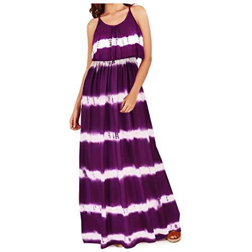 ReooLy Mujeres Moda Tie-Dye Sexy Sin Mangas Colgando Ancho de Banda Vestido Largo Suelto(Púrpura,L)