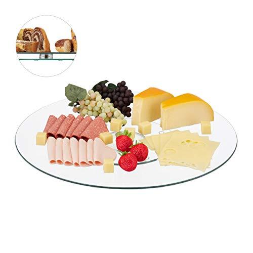 Relaxdays XL Servierplatte, 360° drehbar, Käse, Snacks, Kuchen, rund, ∅ 45 cm, Glas Tortenplatte, transparent/silber