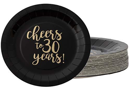 Piatti usa e getta – 48 piatti di carta, per 30° compleanno, anniversario di matrimonio, feste, per aperitivi, pranzo, cena, dessert, salute fino a 30 anni in lamina dorata, nero, diametro 22,9 cm