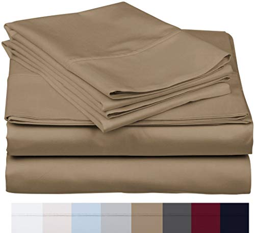 600 Thread Count 100% Long Staple Soft Egyptian Cotton SheetSet, 4 Piece Set, QUEEN SHEETS,upto 17' Deep Pocket, Smooth & Soft Sateen Weave, Deep Pocket, Luxury Hotel Collection Bedding, TAUPE
