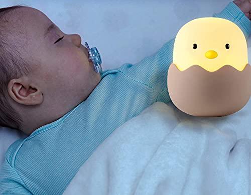ASENTER Luz Nocturna Bebé Lámpara Infantil Toque LED Silicona Pollito Recargable Regalo para los Niños Bebés