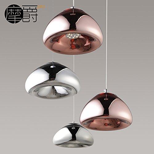 JJ Pendentif LED modernes Fixture de feux style Européen bol en laiton américain de lustres en verre Tom Dixon creative design élégant et lumineux à LED lumière C,30 * 14cm, Silver,220V-240V