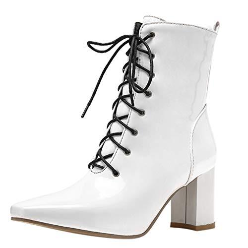 Kriosey Damen Stiefeletten Blockabsatz Spitz Ankle Boots zum Schnüren Schnürstiefeletten High Heels Lackstiefel Mode Herbst Winter Kurzschaft Stiefel Schwarze