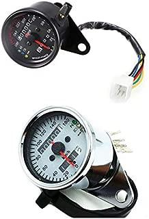 Universal LED Backlight Signal Dual Odometer Speedometer Gauge Motorcycle Custom Cafe Racer Old School Street bike (Black)