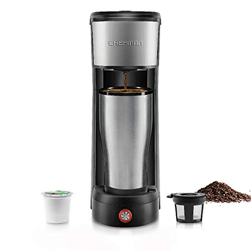 Chefman InstaCoffee Single Serve Coffee Maker Compatible with K-Cup Pods, Grounds & Loose-Leaf Tea w/Reusable Filter, Compact 14 oz, Black/Stainless Steel, Mug Not Included