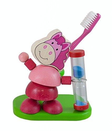 Hess - Porta spazzolino con timer per bambini 'Cavallo', in legno