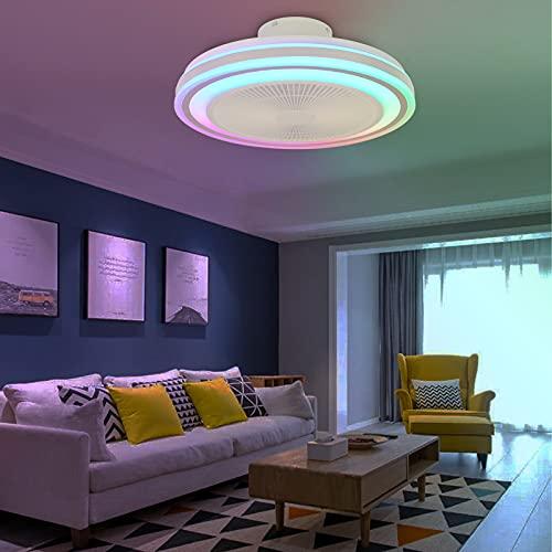 LED Colores Lampara Ventilado Techo con Luz LED Infantil Altavoz Bluetooth Música RGB Colores Plafon Ventilador de Techo con Iluminación Regulable Mando a Distancia Silencioso Ventilador Color Air