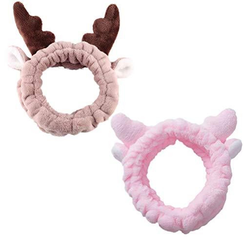 Beaupretty - 2 cintas de maquillaje para la frente, con cornamenta suave y bonita, para mujeres y niñas, color rosa y marrón