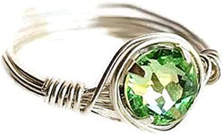 3e34bc0fe Custom Green Peridot Swarovski Crystal Wire Wrapped Solitaire Ring with Sterling  Silver Band, August Birthstone