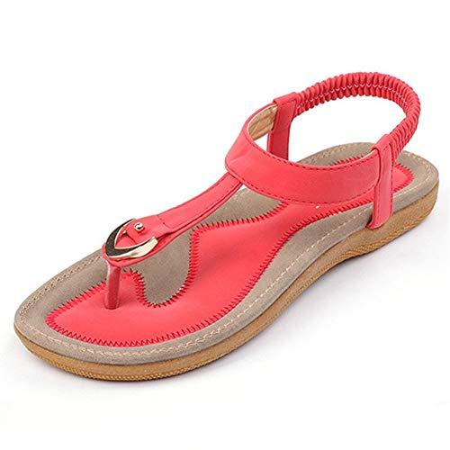 Comfortabel en veelzijdig temperament Flip Flops for Vrouwen Thongs sandalen PU lederen elastische band Flat Heel Slingback Metal Decor slijtvaste TPR Sole Hechten Red hjm nvxie jfidmra