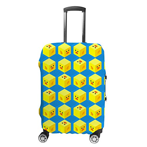 CHEHONG Suitcase Cover Luggage Cover Cubes Cute Duck Face Yellow Travel Trolley Case Protective Washable Polyester Fiber Elastic Dustproof Fits 29-32 Inch