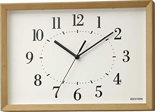 リズム(RHYTHM) 電波時計 掛け時計 置き時計 兼用 A4 サイズ 木枠 インテリアクロック RHYTHM PLUS 8MY557SR06 ライトブラウン 21x29.7x5.2cm
