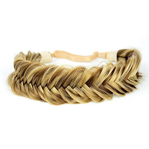Bobiya - Fascia per capelli sintetici a coda di pesce, stile classico, con trecce intrecciate, elastica, per donne e ragazze, accessorio di bellezza
