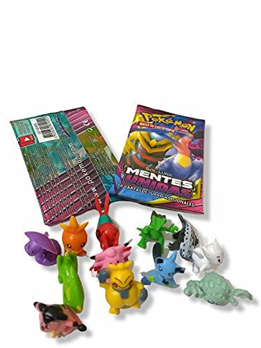 Cartas Pokémon coleccionables en Castellano 90 Piezas + 12 muñecos Pokemon incluidos, Tarjetas GX Sol y Luna, Mentes...