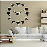 BBNNN Animales de la Selva Elefante Hágalo Usted Mismo Reloj de Pared Grande Diseño para el hogar Espejo Moderno Efecto Gigante Elefantes sin Marco Reloj DIY 47 Pulgadas
