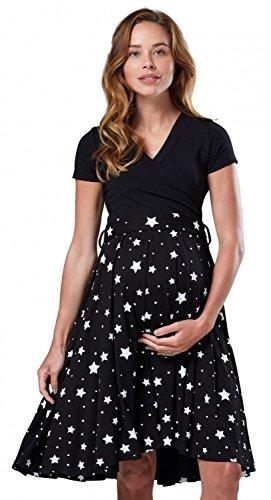 Happy Mama.para Mujer Vestido Premamá y de Lactancia Manga Corta Doble Capa.598p (Negro con Estrellas, 38, M)