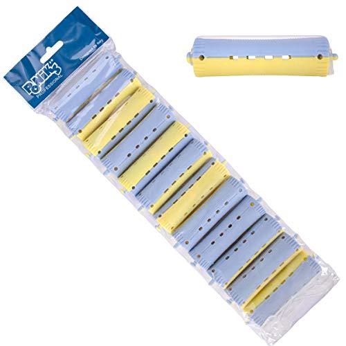 Ponik\'s Dauerwellen Wickler, Lockenwickler für Dauerwelle Set - 22 mm - 12 Stücke - Kaltwellwickler mit Rundgummilaschen, Blau Rot