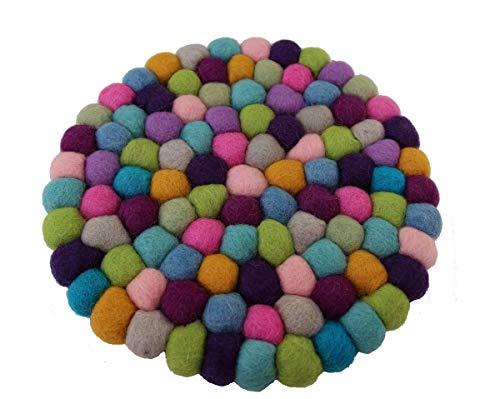 Maharanis Fairtrade Filz Untersetzer Topf Untersetzer pastell 22 cm handgefertigt aus reiner Wolle