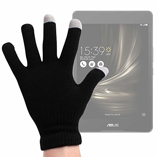 DURAGADGET Guantes Negros para Pantalla Táctil para Tablet HP Spectre X2 / ASUS ZenPad 3 8.0 (Z581KL), ASUS ZenPad 3S 8.0 Z582KL - Talla Grande - ¡Ideales para El Invierno