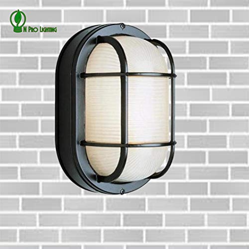 Galaxy Excel Lighting Marine Oval Bulkhead Outdoor Wall Light with Black Cage