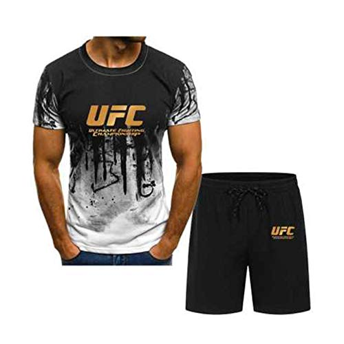 Camisetas Camiseta para jóvenes, MMA Fitness UFC Carta Impresa Pantalones Cortos Deportivos, Ligero y Transpirable (Size : Large)