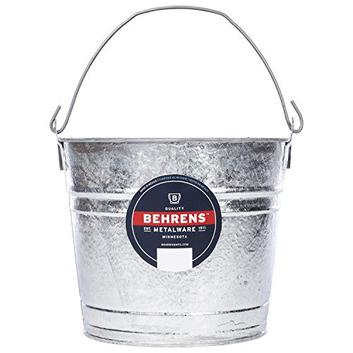Best 7 garden tools for 2020 Behrens 1210 Hot-Dipped Galvanized Steel Utility Pail, 10-Quart, Silver