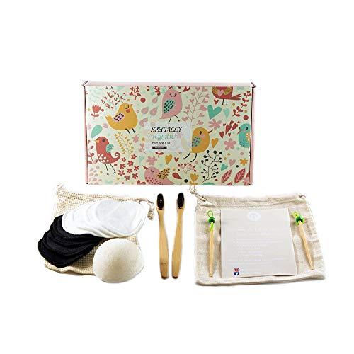 Kit Zéro Déchet Salle de Bain (brosse à dents en bambou, disque coton démaquillant lavable, sac de transport, nettoyant cure oreille, éponge de Konjac) écologique et réutilisable, idée cadeau femme