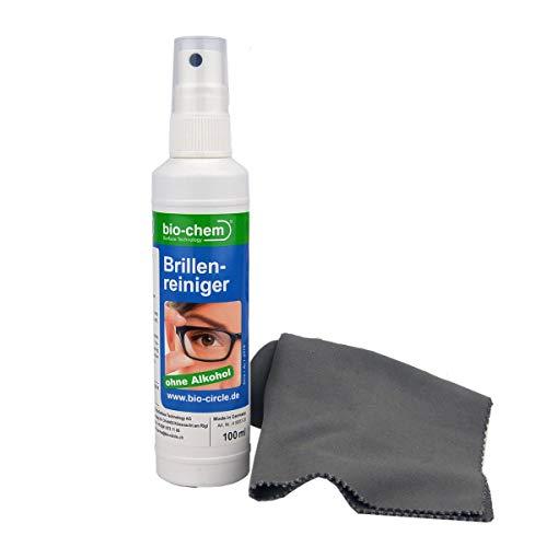 bio-chem Brillenreiniger 100 ml Sprayflasche Pumpflasche Anti-Beschlag-Funktion + hochwertiges Mikrofasertuch