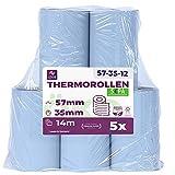 ÖKO - Rotoli di carta termica per cassa, 57 mm x 14 m x 12 mm, carta termica per banco, l...