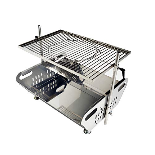 Skyflame Fire Pit Grill Combo - Outdoor Stainless Steel Fire Pit Stand Portable Campfire Grill Stove Kit with Height Adjustable Grate for Backyard - Cook with Charcoal Natural Wood 24