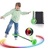 Boyigog Bola de Salto de Tobillo, LED Swing Bolas, Balones Saltadores, Aro de Salto Luminoso Plegable Apto para Que Niños y Adultos Hagan Ejercicio en Casa (Verde-brillará)