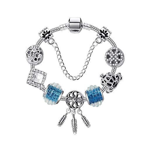 YUANOMSL Armband Aus Kristallperlen,Fashion Street Shooting Hohlen Traumfänger,Anhänger Armband Handgefertigt DIY Glasperlen Perlen Armband Europäischen Und Amerikanischen Persönlichkeit Schönen Sch
