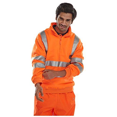 Sweat-shirt pour homme semi-zippé réfléchissant haute visibilité - orange - Large