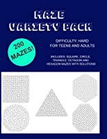 Maze Variety Pack: 200 Mazes - Square, Circle, Triangle, Octagon and Hexagon Mazes - Mazes for Adults and Teens