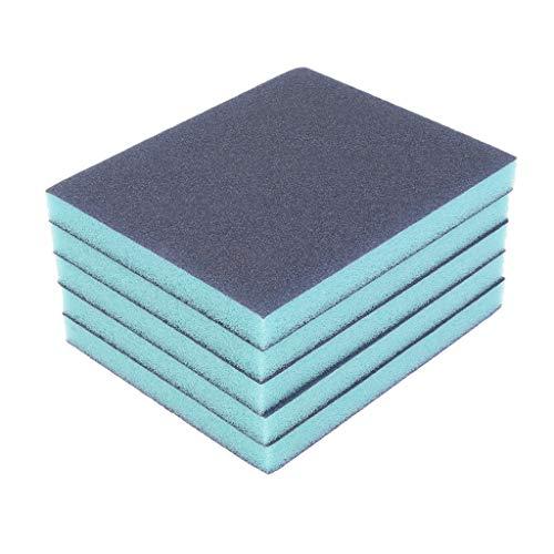 DOLITY Esponja abrasiva, 5 unidades, color azul, espuma abrasiva, 100 agarres, 2 lados, revestimiento de grano abrasivo