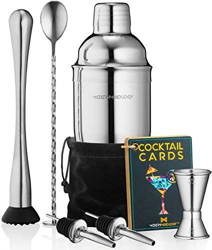 Cocktail Shaker Set Drink Mixer // 8-piece Portable Bartender Kit with 24oz Martini Shaker Bar Tool Set // 2 Pourers // Muddler // Jigger // Mixing Spoon // Velvet Bag // Built-in Strainer (Silver)