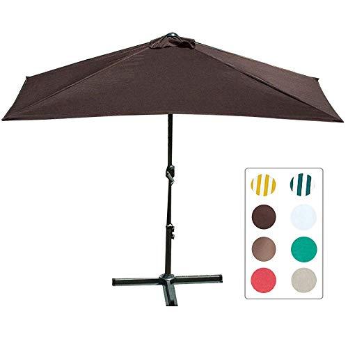 7,5 Fuß halber rechteckiger Sonnenschirm Markttisch im Freien Gestreifter Regenschirm mit einfachen Kurbel- und Querbasen (8 Farben)