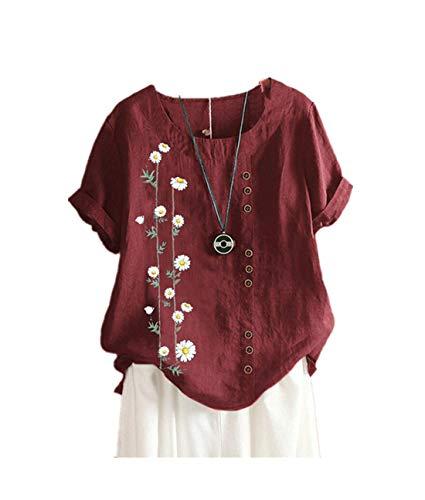 SMTM Damen Baumwoll Leinen T-Shirt Daisy Print Loose-Fit Kurzarm Casual Shirt (4XL, Rotwein)