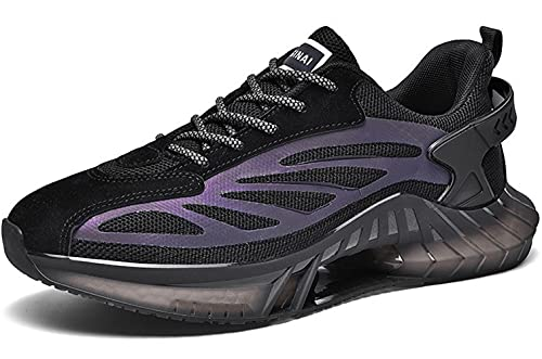 Zapatillas de deporte de moda transpirables para hombre, para correr, correr, correr, ligeras, deportivas, para gimnasio, etc, Black, 43 1/3 EU