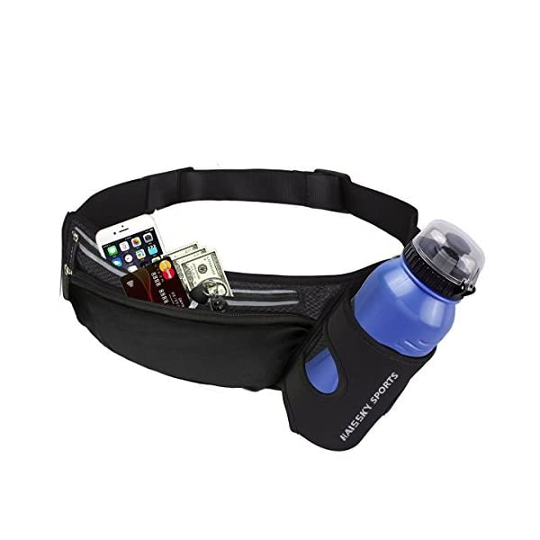 Running Belt Waist Pack with Water Bottle Holder Fitness Waterproof Bum Bag Cycling...