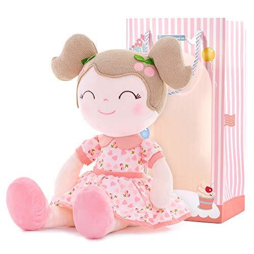 Gloveleya Stoffpuppe Mädchen Geschenke Baby Puppe Weiche Puppe Plüschpuppe rosa 36 cm mit Geschenk-Box
