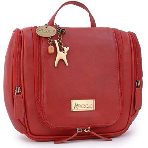 CATWALK COLLECTION HANDBAGS - Ladies Leather Hanging Travel Wash Bag -...