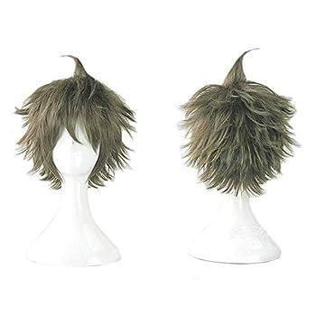 YiMai Hinata Hajime Wig Anime Danganronpa Cosplay Costume Short Green Hair