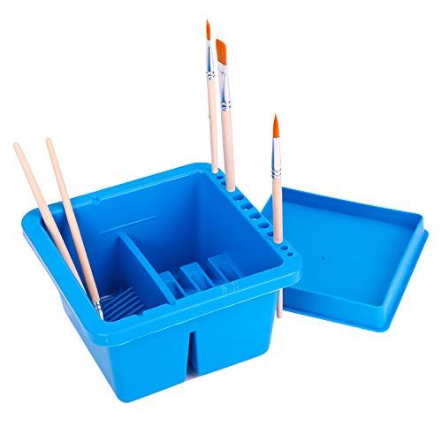 筆洗い バケツ 筆洗器 画材 小型 多機能 画材筆/水彩画筆/ブラシ/油絵筆かけ 四角形 プラスチック 蓋付き 持ち運び 美術用品 旅行 学校 初心者 専門家 学生 誕生日 プレゼント ブルー