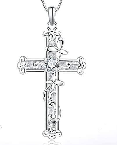 YL Butterfly Cross Necklace Sterling Silver Leaves Pendant Cubic Zirconia Crucifix Jewelry product image