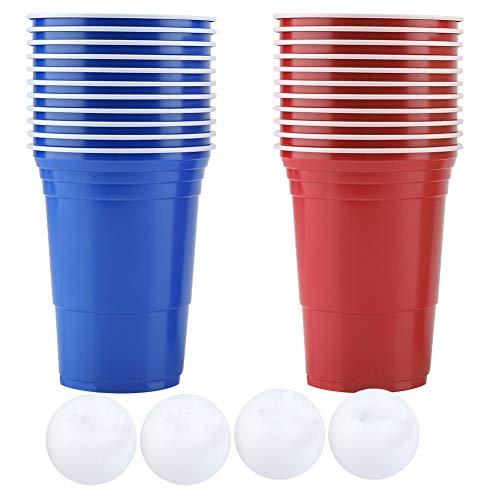 NCONCO Beer Pong Set, Beer Pong Trinkspiel Set Beer Pong Becher - 11 rote Tassen + 11 blaue Tassen + 4 Bälle